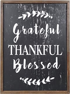 NIKKY HOME Rustic Inspirational Wooden Wall Plaque Sign,12 x 16 inch, Grateful Thankful Blessed