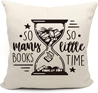 Funny Quotes So Many Books So Little Time Throw Pillow Case, Book Lover Gift, Decorative Cotton Linen Cushion Cover for Sofa Couch Bed Reading Book Club18 x 18 Inch