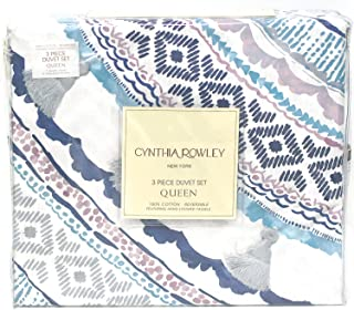 Cynthia Rowley 3pc Full Queen Cotton Duvet Cover Set Paisley Moroccan Medallion Coral Red Blue Taupe (Queen, Mauve Denim)