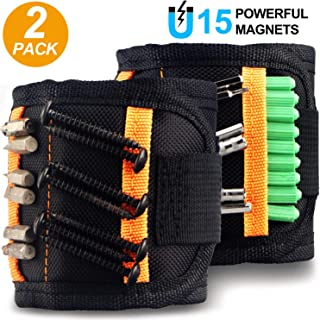 2 Pack Magnetic Wristband, Tools with N38 Grade Strong Magnets for Holding Screws, Nails Drill Bits, Tools for Men, Father/Dad, Husband, DIY Handyman, Gifts for Men, Unique Mens Gifts