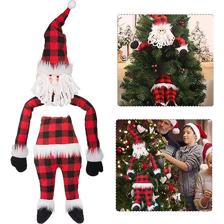 Cute Cute Cute Plaid Christmas Tree Dog Ornament w//Red Xmas Hat /& Matching Scarf