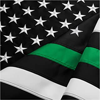 FBNC Thin Green Line Flag 3x5 Ft: Durable Nylon with Embroidered Stars and Brass Grommets - Proud to be a Border Patrol, Park Ranger and Conservation Officer
