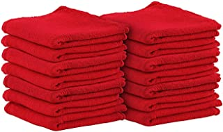 Red Star Rags Auto-Mechanic Shop Towels, Shop Rags 100% Cotton Commercial Grade Perfect for Your Garage, Auto Body Shop(12x12) inches, 50 Pack, (Red)