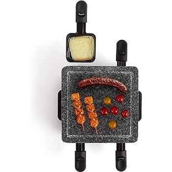 LIVOO DOC162 Appareil à Raclette 4 Personnes |Grill Pierre en Granite Amovible | Revêtement Anti-adhésif - 600 Watts