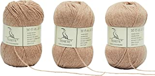 TEHETE 100% Cashmere Yarn for Crocheting 3-Ply Warm Soft Luxurious Fuzzy Knitting Yarn, 150g (Khaki)