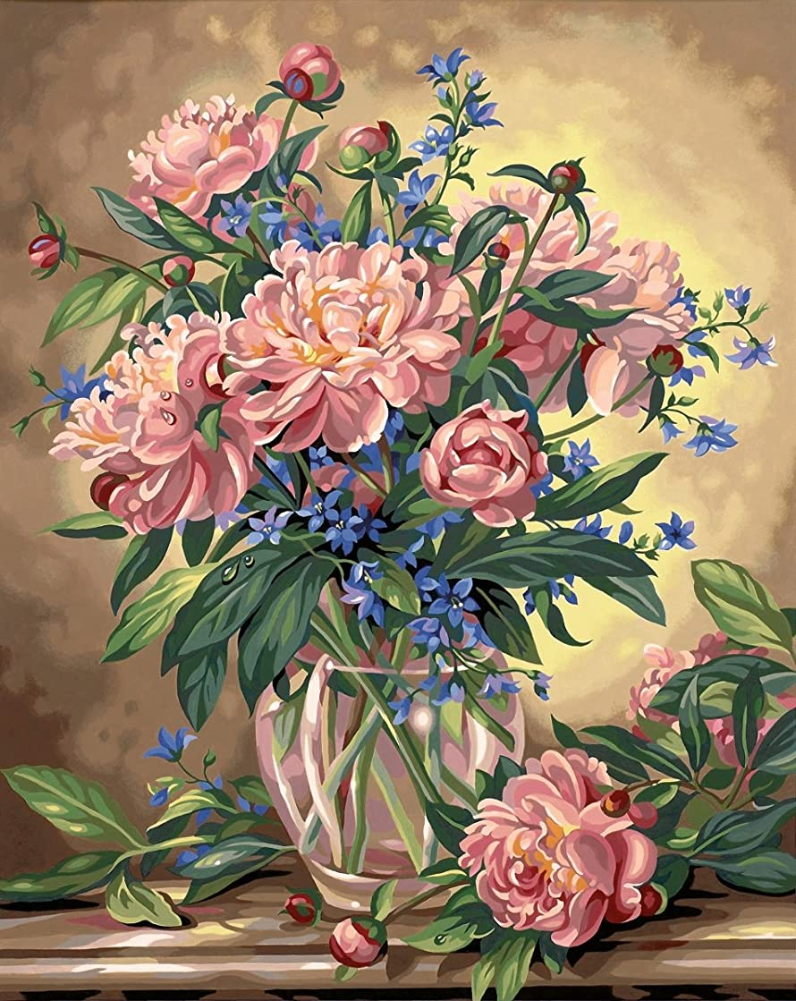 Dimensions Peony Floral Paint by Numbers Kit, 16'' W x 20'' L