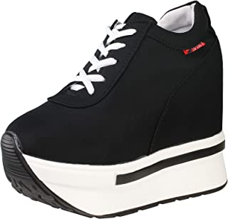 wealsex Ragazze Donna Moda Lace-Up Carpe di Tela Nascondere Cunei Scarpe Casual Alte Sneakers