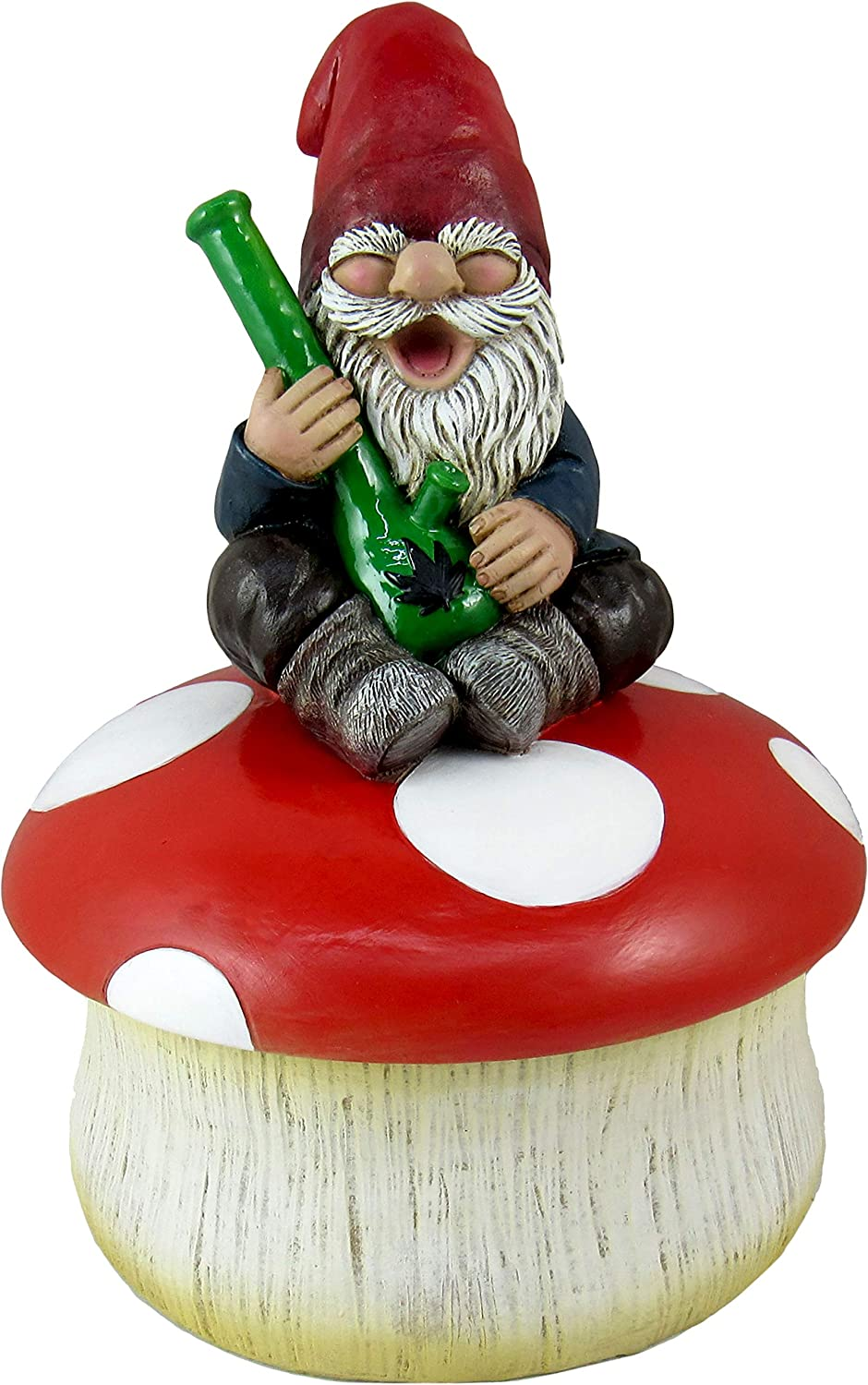 World of Wonders - Gnaughty Gnomes Series - Gnome Grown Stash - Collectible Stoner Gnome on Mushroom Holding Bong Cannabis Pot Leaf Jewelry Trinket Keepsake Box 420 Home Decor Accent, 7-inch