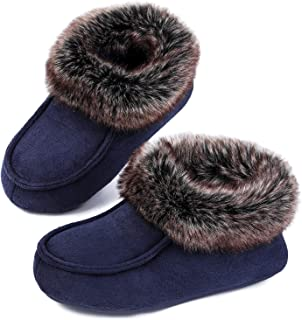 EverFoams Boys Girls Suede House Slippers Comfy Kids Shoes with Fluffy Faux Fur Collar