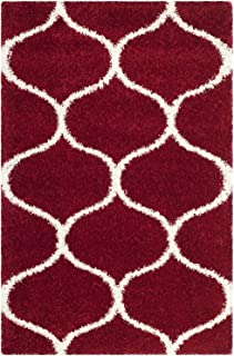 Safavieh Hudson Shag Collection SGH280R Moroccan Ogee 2-inch Thick Area Rug, 2' x 3', Red/Ivory