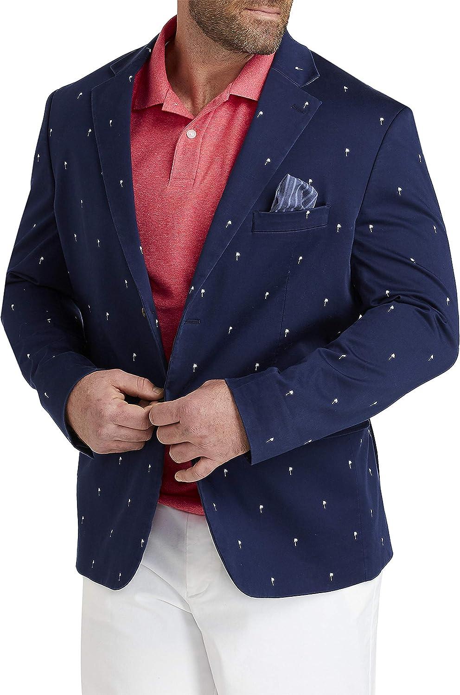 Oak Hill by DXL Big and Tall Palm Print Stretch Cotton Sport Coat, Navy