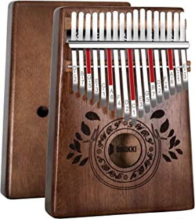 UNOKKI Kalimba 17 Keys Thumb Piano with Study Instruction and Tune Hammer, Portable Solid African Wood Finger Piano, Kids ...