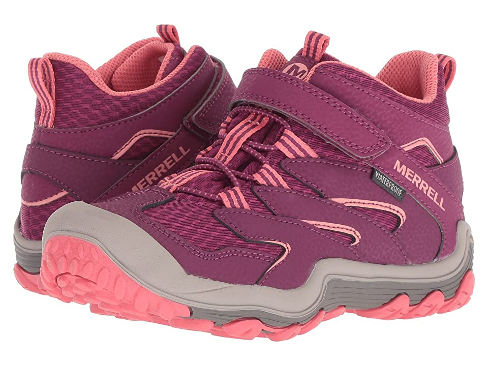 Merrell Kids Chameleon 7 Access Mid A/C Waterproof (Little Kid) (Berry/Coral) Girls Shoes