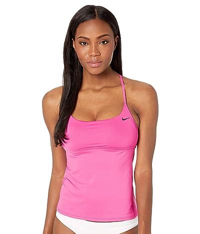 Nike Solid Cross-Back Tankini (Laser Fuchisa) Women