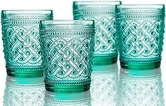 Elle Decor 229807-4OFGR Bistro Ikat 4 Pc Set Old Fashion, Green-Glass Elegant Barware and Drinkware, Dishwasher Safe, 9.8 oz,