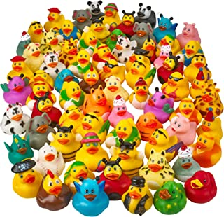 Kicko Assorted 2 Inch Rubber Duckies - 72 Pack Floating Bathtub Toy - Water Toy - Mini Rubber Toys - Rubber Ducky Bulk for Party Favors for Kids