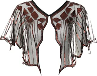 Vintage 1920s Shawl Beaded Sequin Deco Evening Cape Shrug Bolero Flapper Cover Up