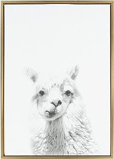 Kate and Laurel Sylvie Alpaca Framed Canvas by Simon Te Tai, 23x33, Gold