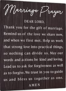 Marriage Prayer Wall Art Decor Plaque - Wedding Gifts for Couples or Newlyweds Husband and Wife - Engagement Present Rustic Wood Religious Decoration 11x14 Christian Bedroom Sign
