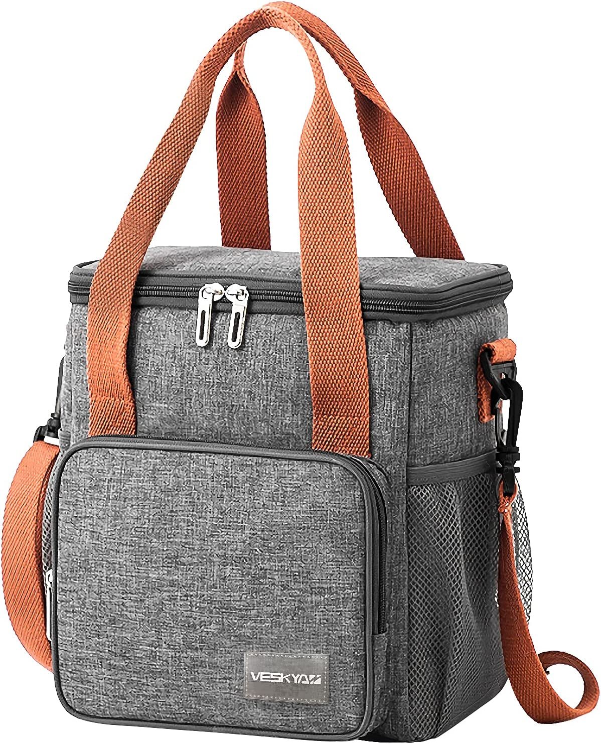 Leakproof Cooler Lunch Box for Women Men, VESKYAO Insulated Lunch Bag Fresh Reusable Tote Bag with Adjustable Shoulder Strap for Office Work School Picnic Beach 12-Can(9L)