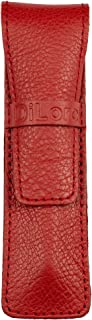 DiLoro Full Grain Top Quality Genuine Leather Single Pen Case Holder Pouch (Buffalo Venetian Red)