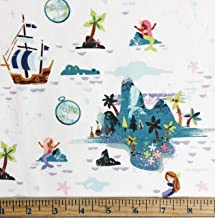 1 Yard - Neverland Island & Peter Pan on Cream Cotton Fabric (Great for Quilting, Sewing, Craft Projects, Throw Pillows & More) 1 Yard x 44""