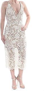 Dress the Population Women's Rani Plunging Sequin Fitted Midi Sleeveless Sheath Dress