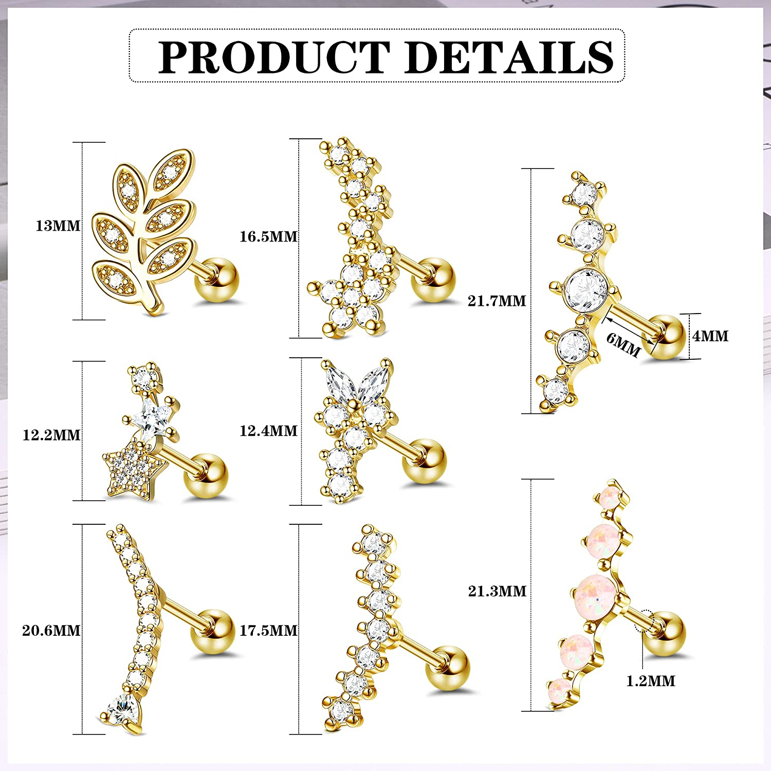 Drperfect 16G Stainless Steel Cartilage Earring Stud for Women Men Leaf Flower Butterfly Star Heart Curved CZ Conch Helix Piercing Jewelry