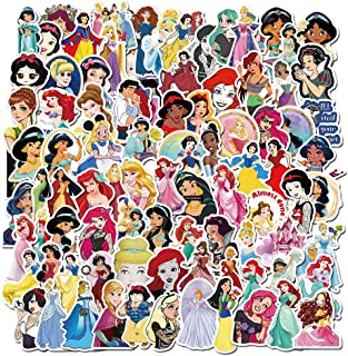 100Pcs Beautiful Princess Laptop Stickers Skateboard Hydroflask Water Bottle Car Snowboard Bicycle Luggage Decal Best Gift...