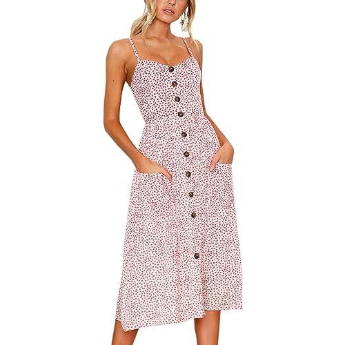 30d307d6b2 Angashion Women's Dresses-Summer Floral Bohemian Spaghetti Strap Button  Down Swing Midi Dress with Pockets