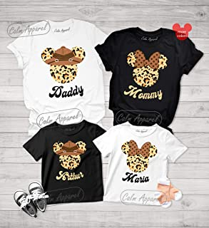 Animal Kingdom Family Shirts, Personalized Holiday Outfits, Unisex Safari Tee Shirt, Womens Girls Leopard Graphic Tees