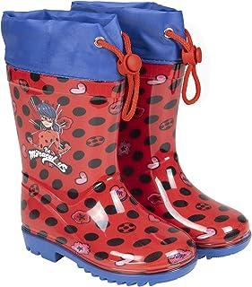 Botas de Agua Miraculous Lady Bug Niña - Botines Impermeables Ladybug Rojos Fantasía de Lunares - Botas Lluvia con Suela A...