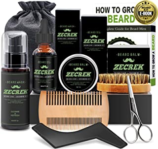 Best 9 in 1 Beard Grooming & Growth Kit w/Beard Oil,Beard Shaping Tool,Beard Wash/Shampoo,Beard Balm,Beard Comb,Beard Brush,Beard Scissor,Storage Bag,Gifts for Men Him Dad