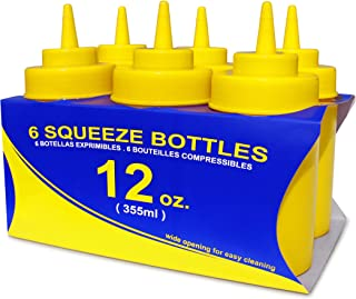 New Star Foodservice 26085 Squeeze Bottles, Plastic, Wide Mouth, 12 oz, Yellow, Pack of 6