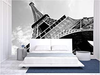 wall26 - Detailed Bottom View of Eiffel Tower, Paris, Black and White Image - Removable Wall Mural | Self-Adhesive Large Wallpaper - 100x144 inches