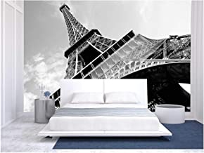wall26 - Detailed Bottom View of Eiffel Tower, Paris, Black and White Image - Removable Wall Mural   Self-Adhesive Large Wallpaper - 100x144 inches