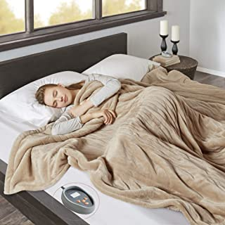 Beautyrest Heated Microlight to Berber Elect Electric Blanket with Two 20 Heat Level Setting Controllers, King, Tan