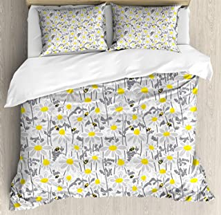 Yellow 4 Piece Bedding Set Queen Size, Pattern with Bees and Chamomile Daisy Flowers in Flourishing Meadow Nature, Duvet Cover Set Quilt Bedspread for Childrens/Kids/Teens/Adults, Grey Yellow White