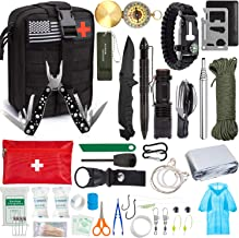 Emergency Survival Kit, 47 Pcs Professional Survival Gear Tool First Aid Kit SOS Emergency Tactical Flashlight Knife Pliers Pen Blanket Bracelets Compass with Molle Pouch for Camping Adventures