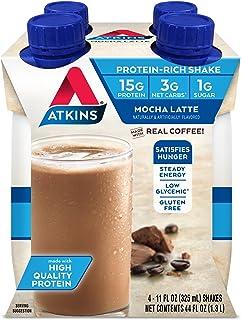 Atkins Gluten Free Protein-Rich Shake, Mocha Latte, Keto-Friendly, 4 Count