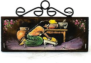 Llavero de pared Pintado a mano, Mujer con metate, Madera y Herrería Hecho en México por Artesanos