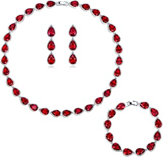 Silver Plated Base Ruby-Color Red 3 Jewelry Set Bracelet Necklace Earrings Women Wedding Party