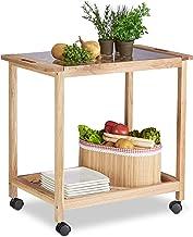 Relaxdays Wózek kuchenny na kółkach, drewniany wózek do serwowania ze szklanym blatem, 2 poziomy, wózek na kółkach, wys. x...