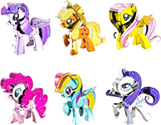 Fascinations Metal Earth 3D Metal Model Kits My Little Pony Complete Set of 6 Applejack - Fluttershy - Pinkie Pie - Rainbow Dash - Rarity - Twilight Sparkle