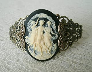 Triple Goddess Cuff Bracelet, handmade jewelry wiccan pagan wicca witch witchcraft