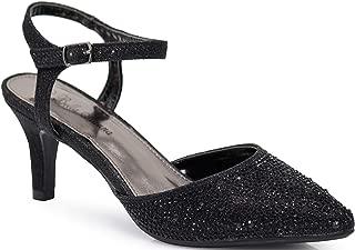 Enzo Romeo Jupiter45 Women's Pointy Toe Mid Heel Sexy Ankle Strap Sandals Ballerina Dress Pump Ballet Wedding Harlow Pump Shoes