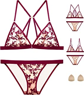 e843fa8ae8c The victory of cupid Embroidered Flower Sponge Cushion Front Buckle Bra Set  Underwear Bralette