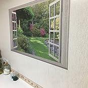 Flores Verdes Jard/ín Paisaje 3D Ventana Falsa Vinilo Pegatinas De Pared Dormitorio Sala De Estar Decoraci/ón Paisaje Papel Pintado Grande