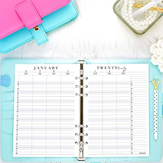 2020 Dated Weekly Hourly Planner Inserts A5 Size | Refill Pages for Ring bound Planner Systems | 5.83x8.27 inches | Size 5