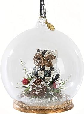 MacKenzie-Childs Owl Cloche Ornament, Glass Ball Ornaments for Christmas Tree